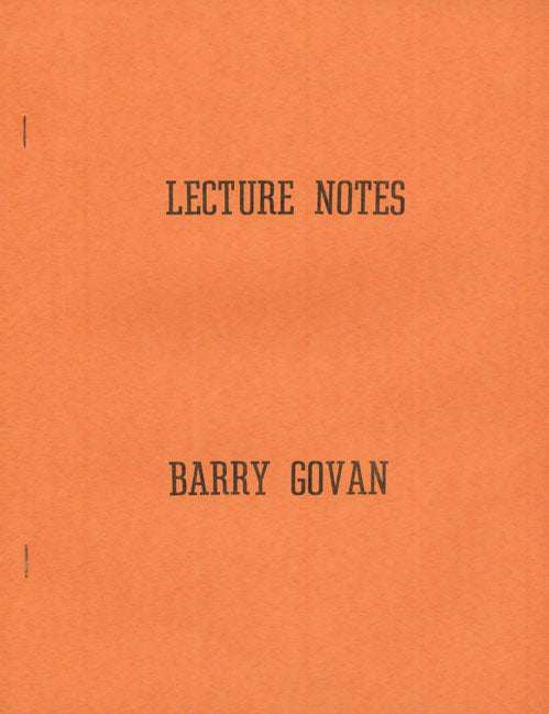 Lecture Notes by Barry Govan - Book