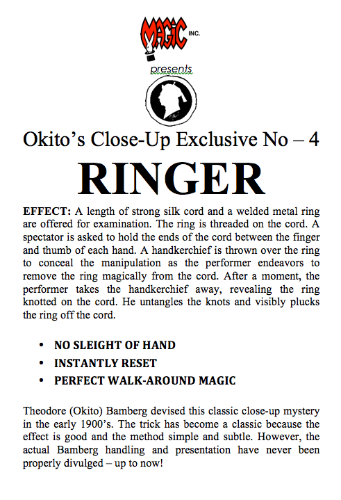 Ringer By Okito (Okito's Close-Up Exclusive No-4) - Trick