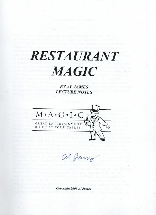 Restaurant Magic - Lecture Notes by Al James - Book