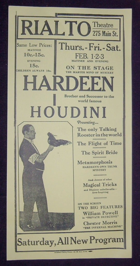 Hardeen - The Master Mind of Mystery - Rialto Theatre Poster (Facsimile)