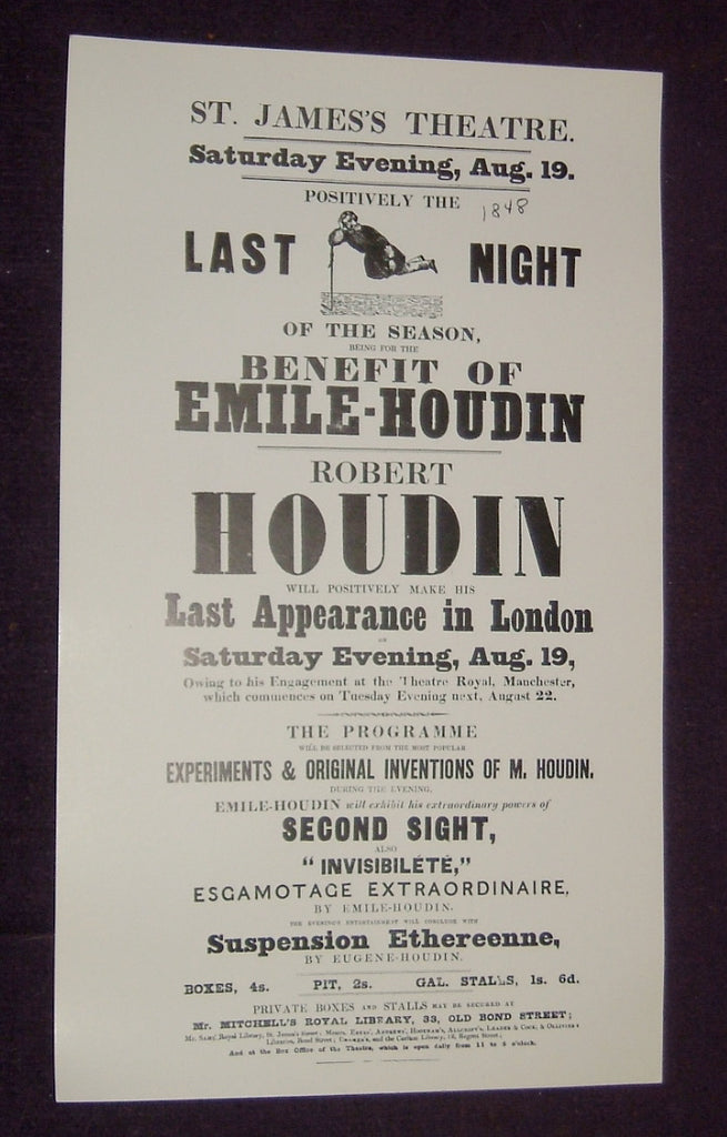 Robert Houdin Broadside St. James's Theatre Last London Appearance (1848)