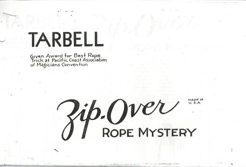 Zip Over Rope Mystery By Harlan Tarbell
