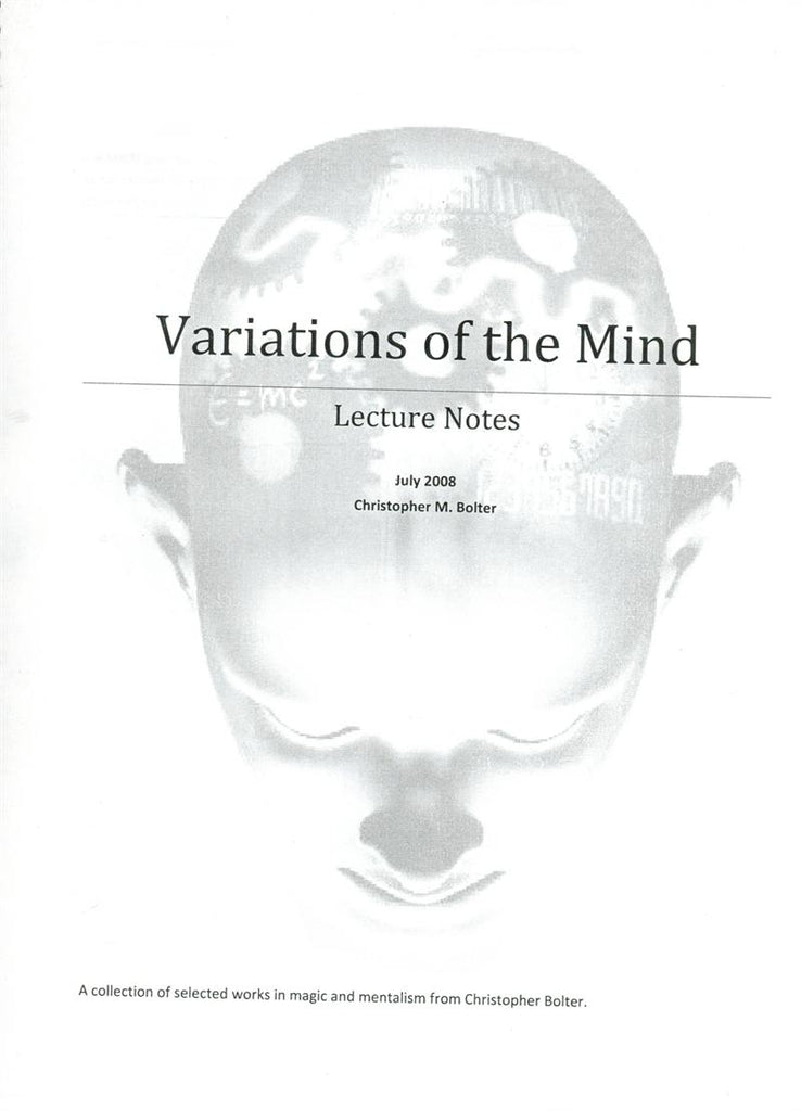 Variations of the Mind 2008 Lecture Notes by Chris Bolter - Book