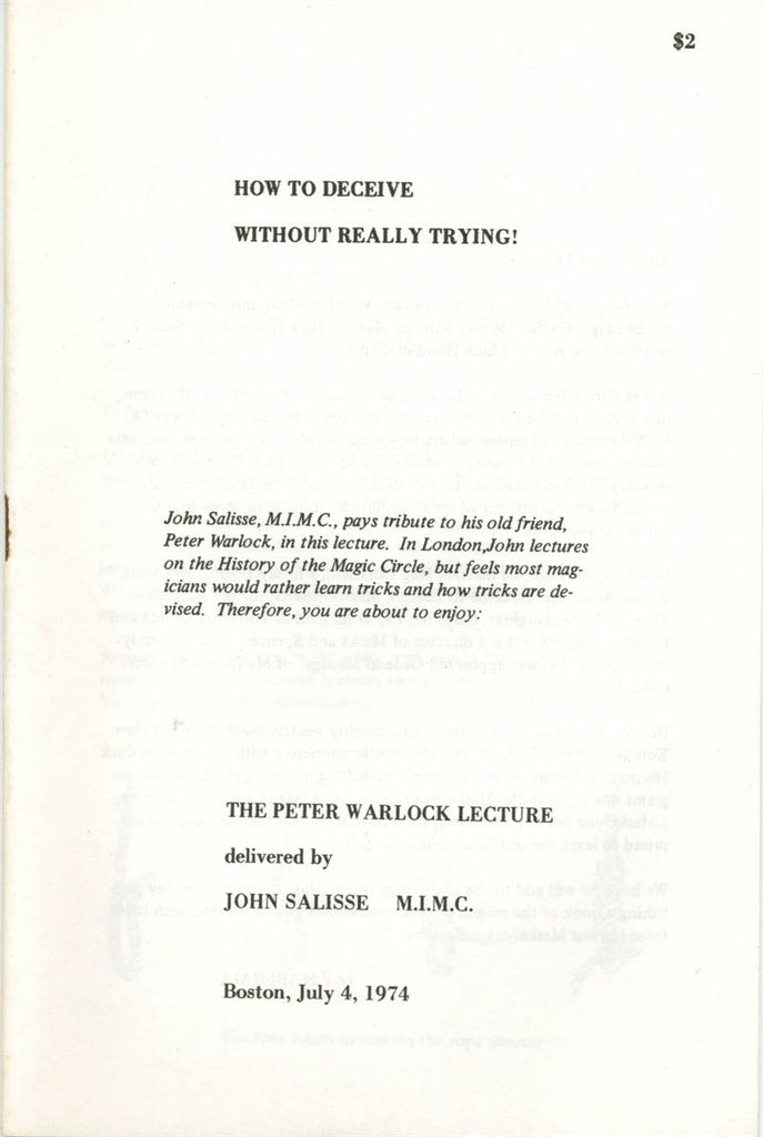 How To Deceive Without Really Trying by Peter Warlock -Book