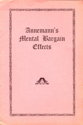 Annemann's Mental Bargain Effects - Book