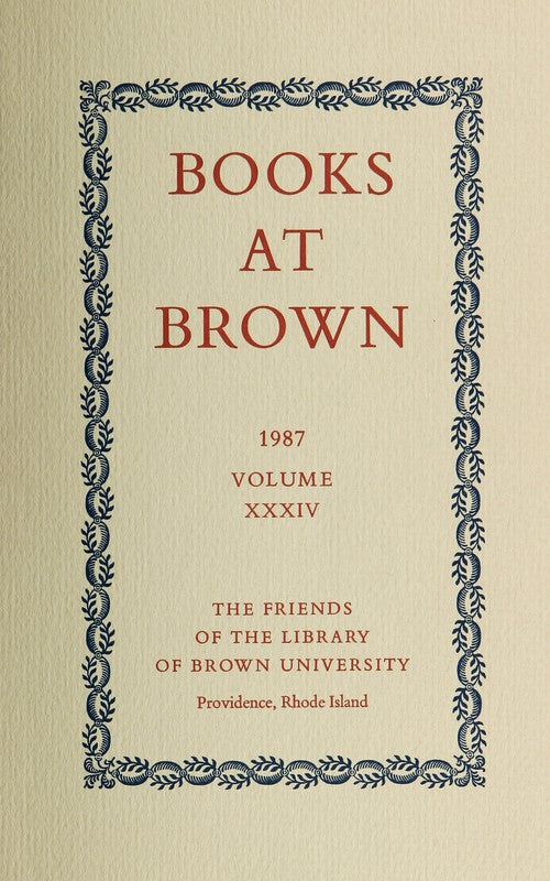 Books At Brown 1987 Volume XXXIV - Book