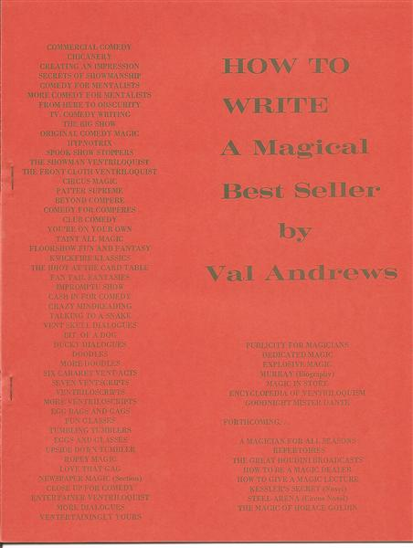 How To Write A Magical Best Seller by Val Andrews - Book