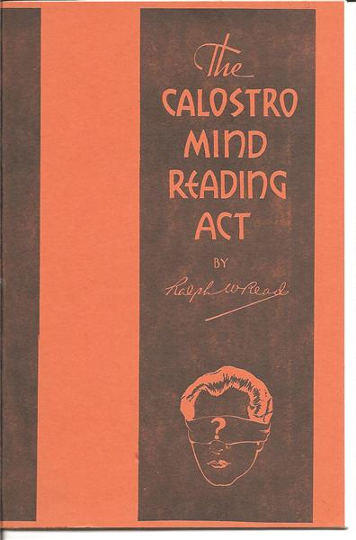The Calostro Mind Reading Act by Ralph Read - Book