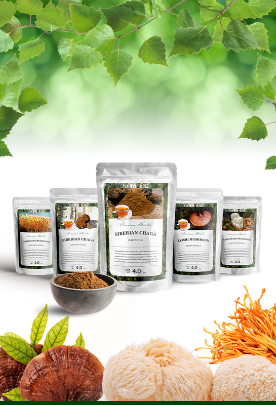Image of mushrooms and collection of the innature health products