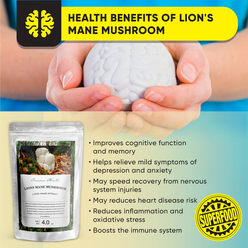 Lions Mane Extract Powder (4 oz) – Immune Support – Strengthens Focus, Memory, Mental Clarity