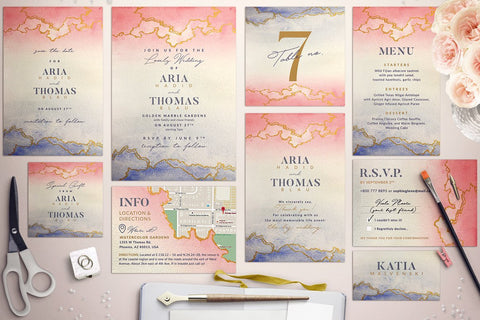 Golden Marble Invitation Suite