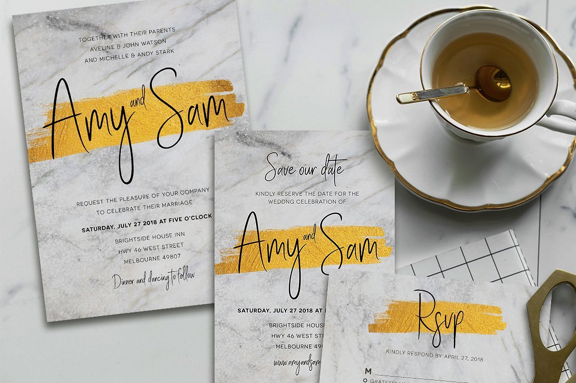 Marble & Gold Invitation Suite