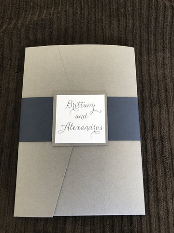 Navy and Grey Pocket Invitation