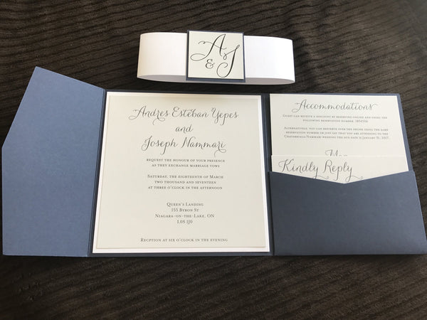 Navy and White Pocket Invitation