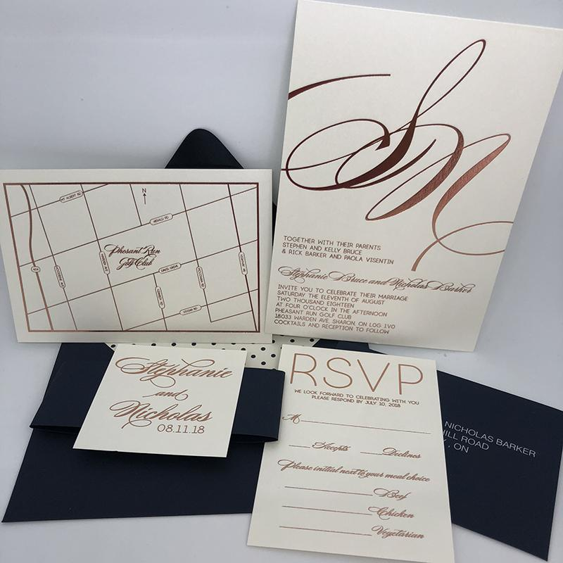 Scripty Rose Gold Foil Invitation