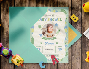 Green & Blue Baby Shower Invitation