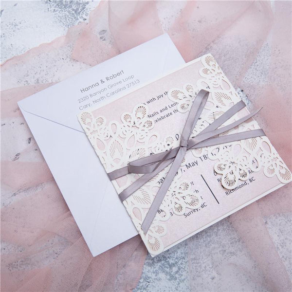 Fancy Lace with ribbon Lasercut Invitation (WPL0008)
