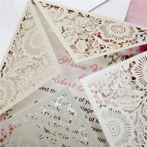 Gold Doily Lace corner fold Lasercut Invitation (WPL0015)