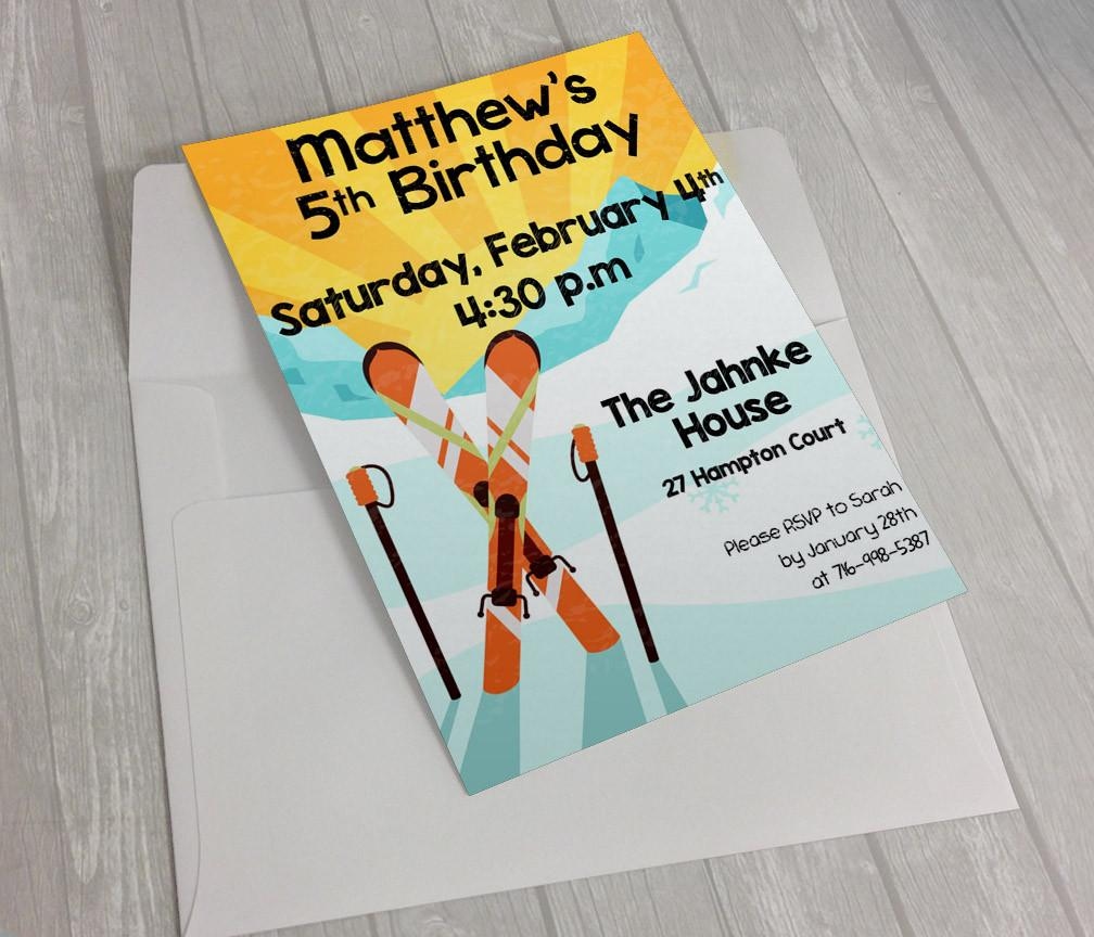 Ski themed Birthday Invitation