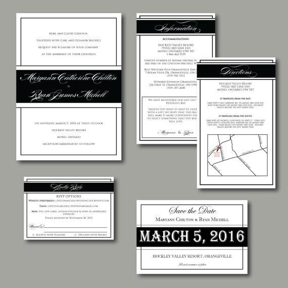 Classic Black & White Wedding Invitation