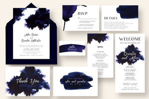 Chic Indgo Invitation Suite