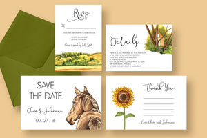 Country Wedding (Equestrian Theme) Invitation Suite