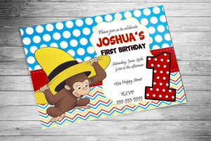 Curious George with Hat Birthday Invitation
