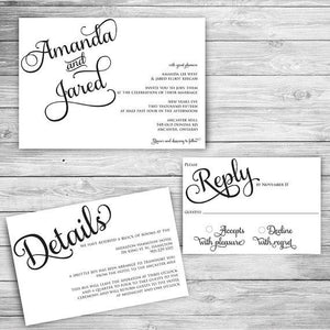 Fancy Black & White Wedding Invitation