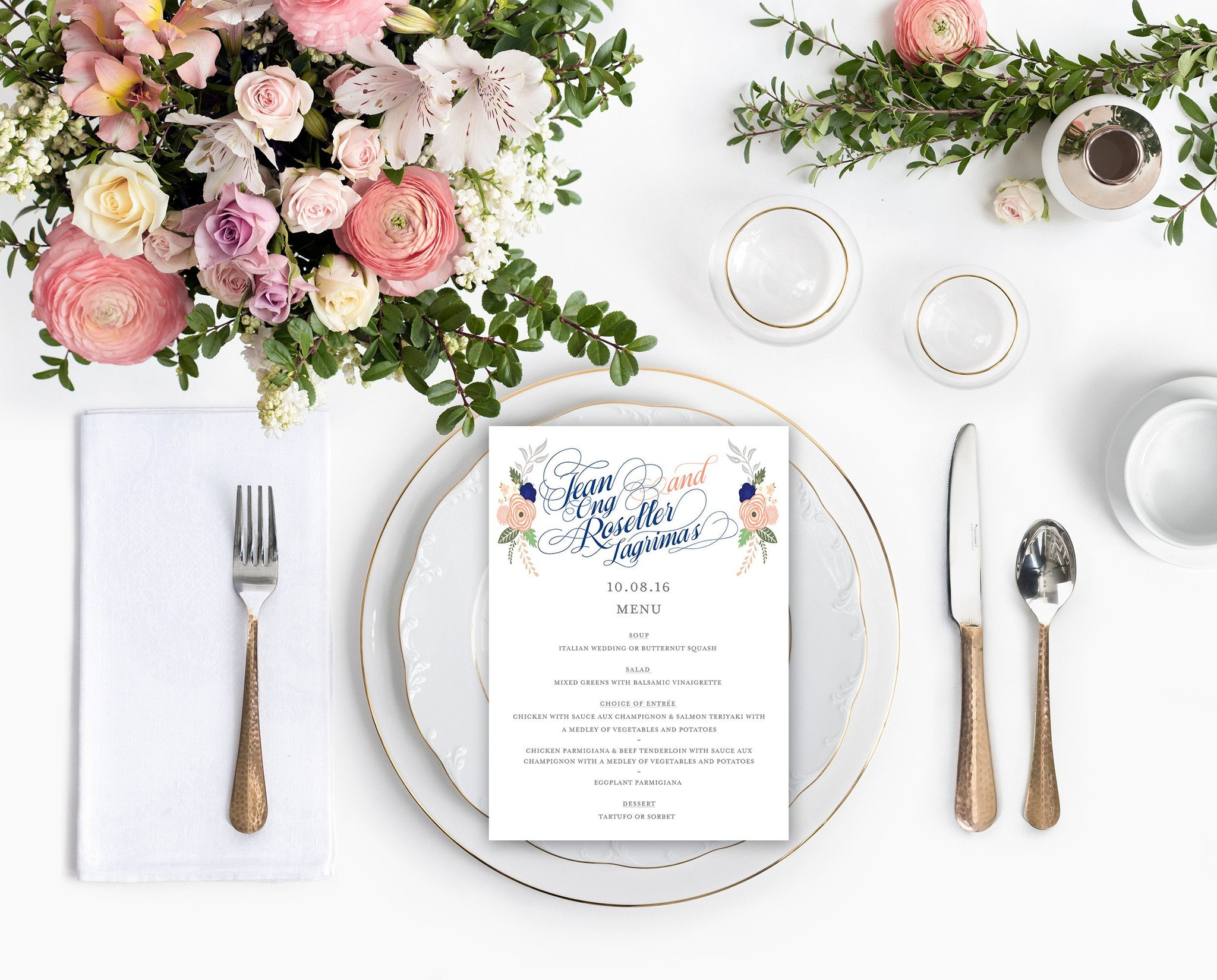 Fancy Script in Blue and Peach Menu Card