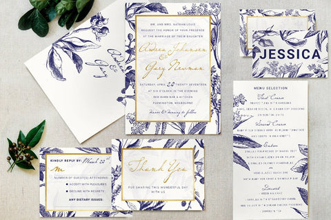 Gold & Navy Invitation Suite