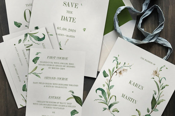 Green Foliage Invitation Suite