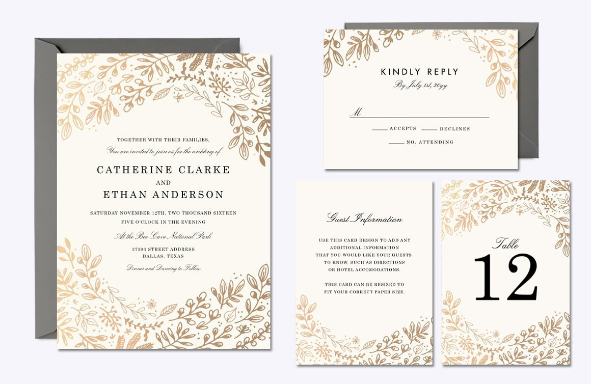 Harvest Flowers Invitation Suite