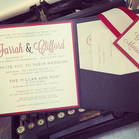 "Black & Burgundy ""Farrah"" Invitation"