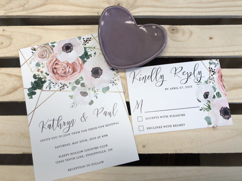 Floral and Gold Invitation Suite