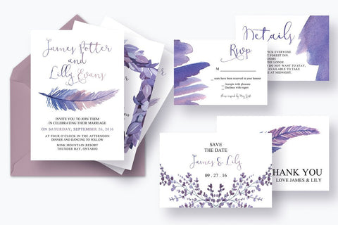 Mythical Feathers Invitation Suite