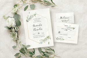 Modern Gold Foliage Invitation Suite
