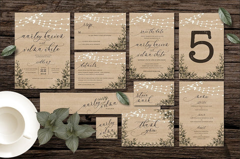 Rustic Brown 2 Invitation Suite