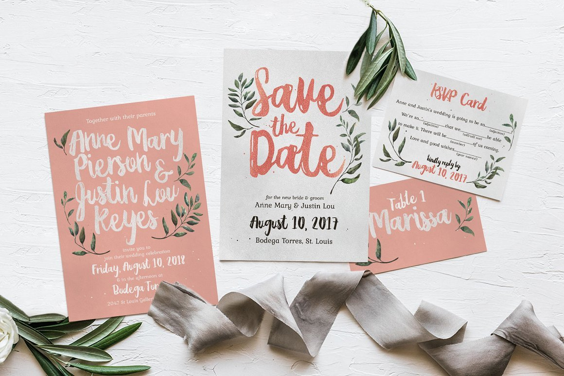 Rustic Pink & Green Invitation Suite