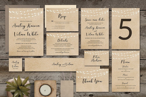Rustic Brown 1 Invitation Suite