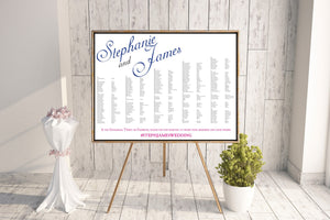 "Large Names ""Steph and James"" Seating Chart"