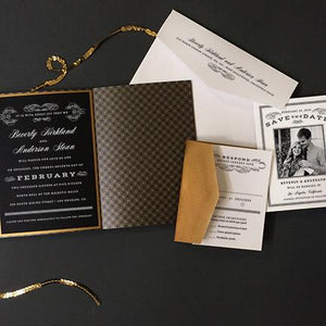 Scrolls and Stripes Wedding Invitiation