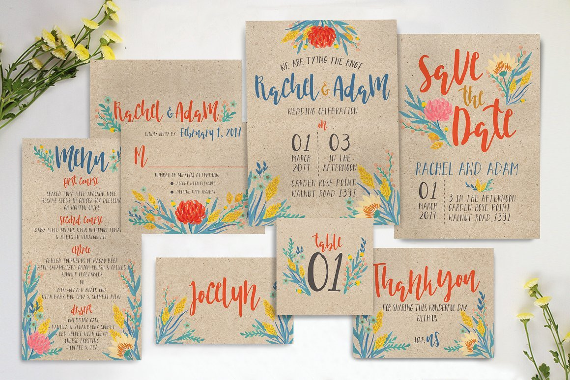 Summer Florals Invitation Suite