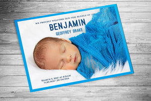 Turquoise Birth Announcement