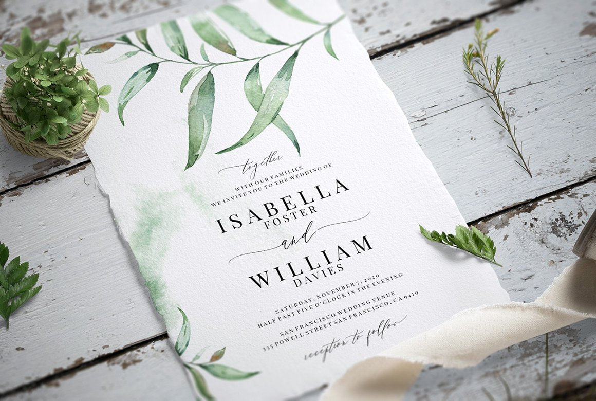 Watercolour Greens Invitation Suite