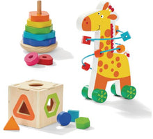 Load image into Gallery viewer, Giraffe Trio Gift Box - Stacker - Sorting cube - Bead Maze - Malta