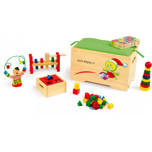 Play-Rest Wooden Bench with Toys
