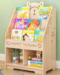 Children Teddy Bookshelf 3 tier with bottom storage - Malta