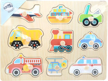 Load image into Gallery viewer, Vehicles Wooden Peg Puzzle