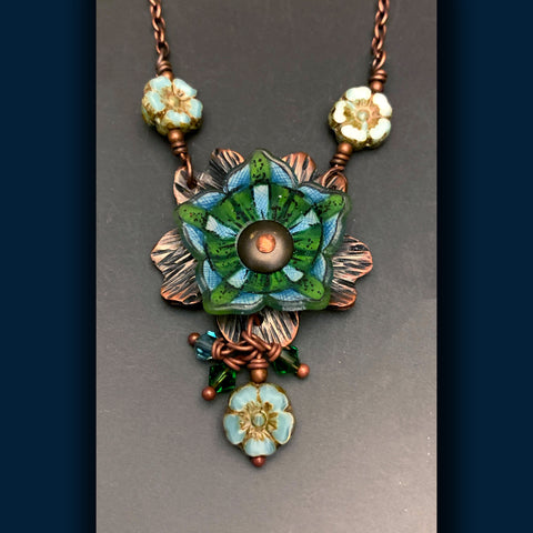 Star Flower of Green and Baby Blue Flower Power Necklace
