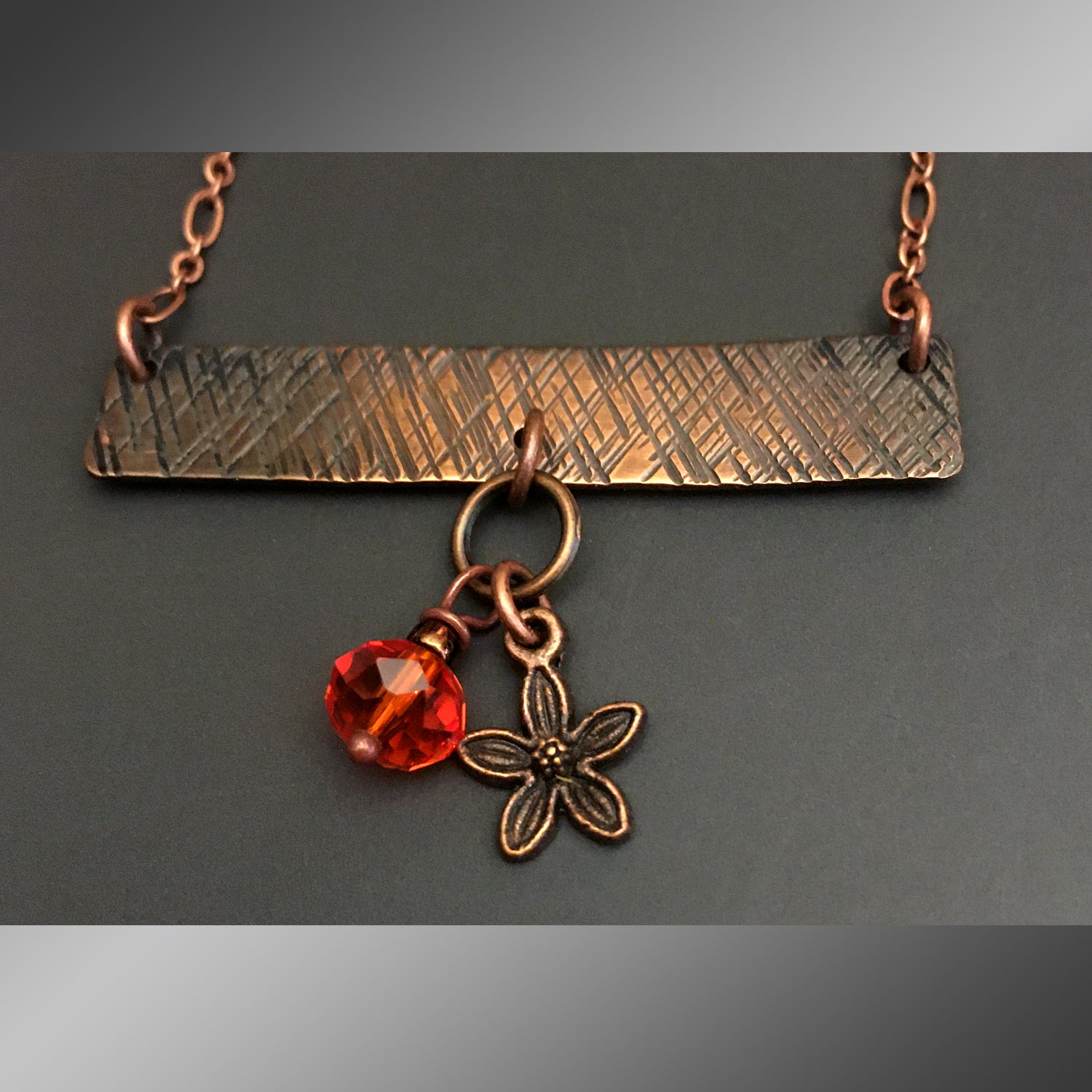 "Textured Bar Pendant with ""Daisy Charm & Deep Orange Crystal"""